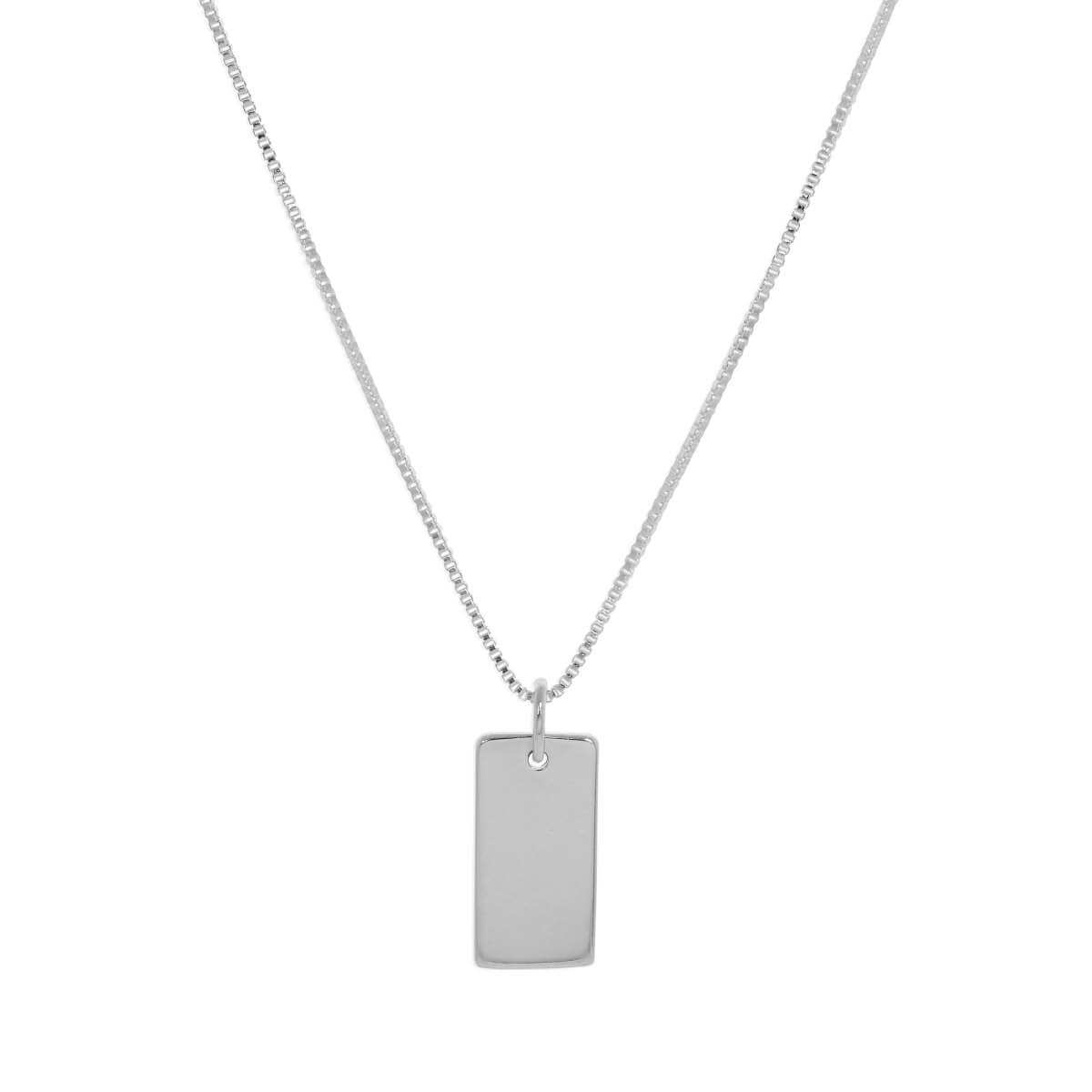 Sterling Silver Mini Engravable Dog Tag Necklace - 14 - 22 Inches