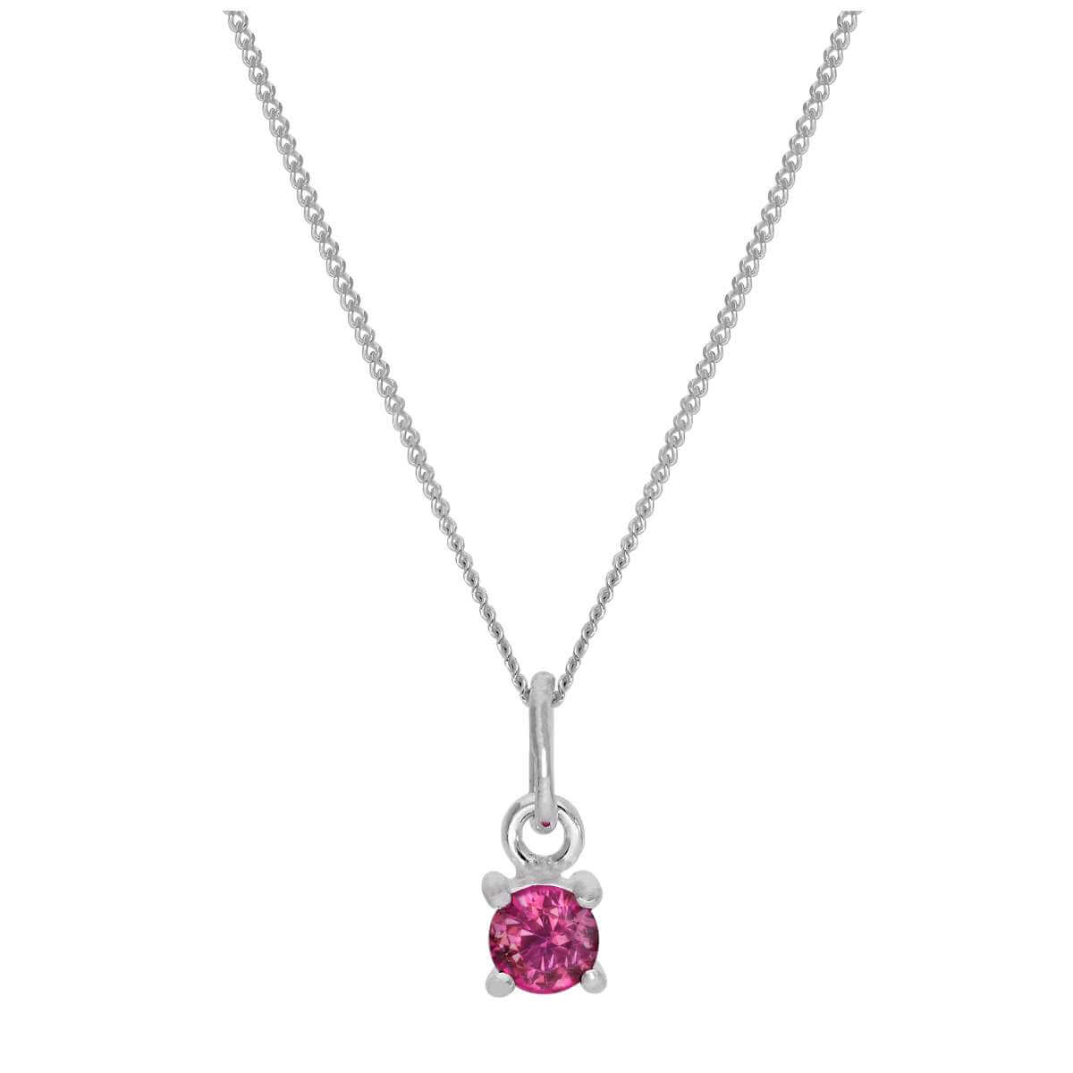 Sterling Silver Tourmaline CZ October Birthstone Necklace - 14 - 32 Inches