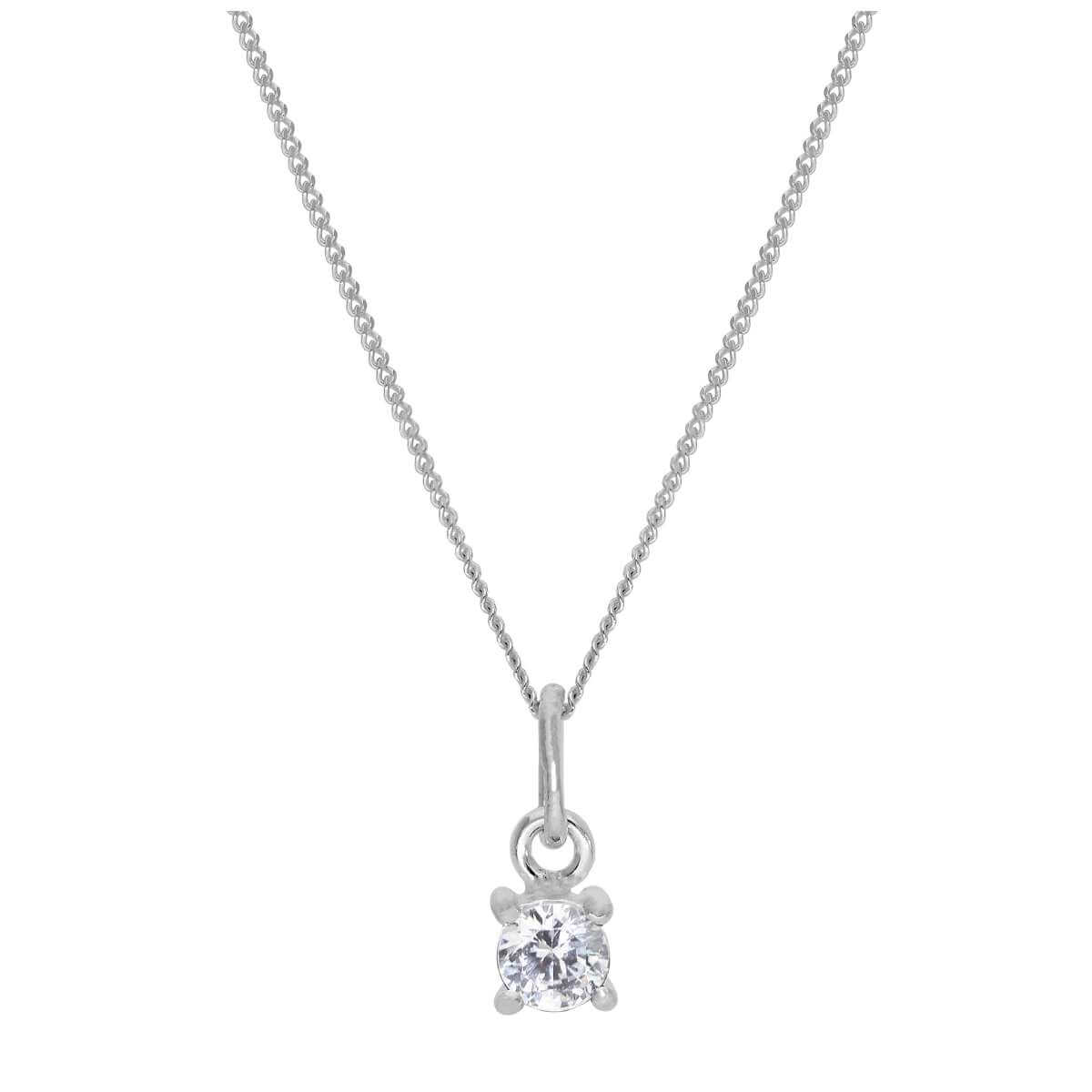 Sterling Silver Clear CZ April Birthstone Necklace - 14 - 32 Inches