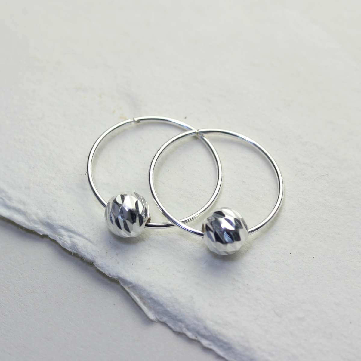 Sterling Silver 18mm Hoop Earrings with Diamond Cut Ball Beads