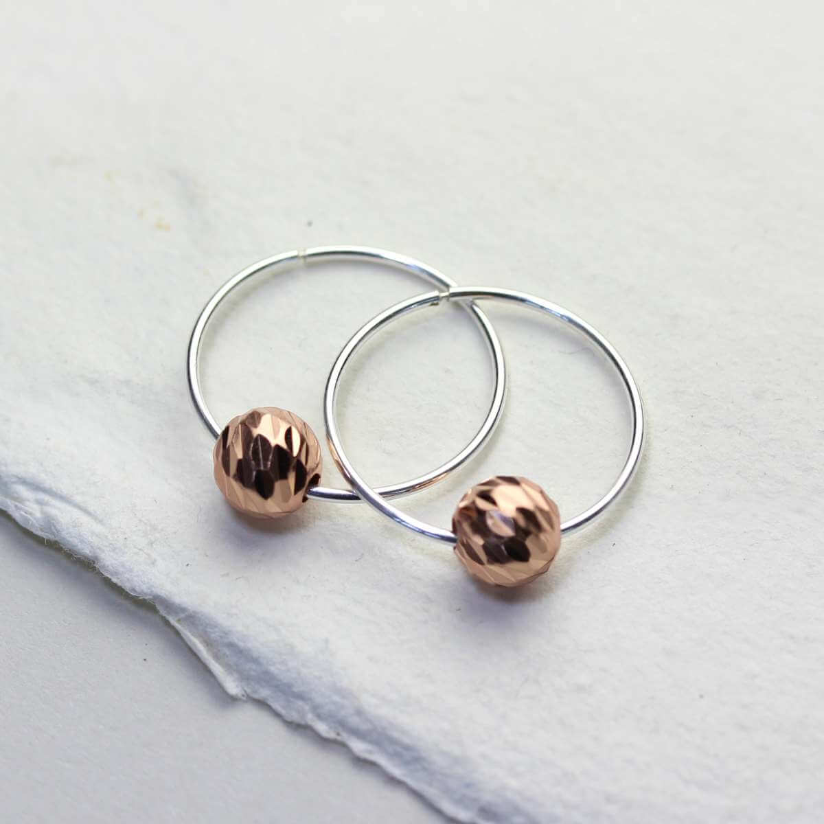 Sterling Silver 18mm Hoop Earrings with Rose Gold Plated Diamond Cut Ball Beads