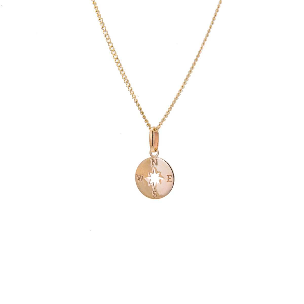 9ct Gold Compass Necklace - 16 - 18 Inches
