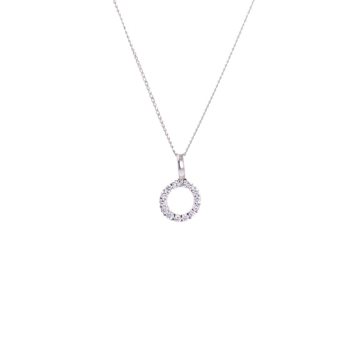 9ct White Gold CZ Karma Circle Necklace - 16 - 20 Inches