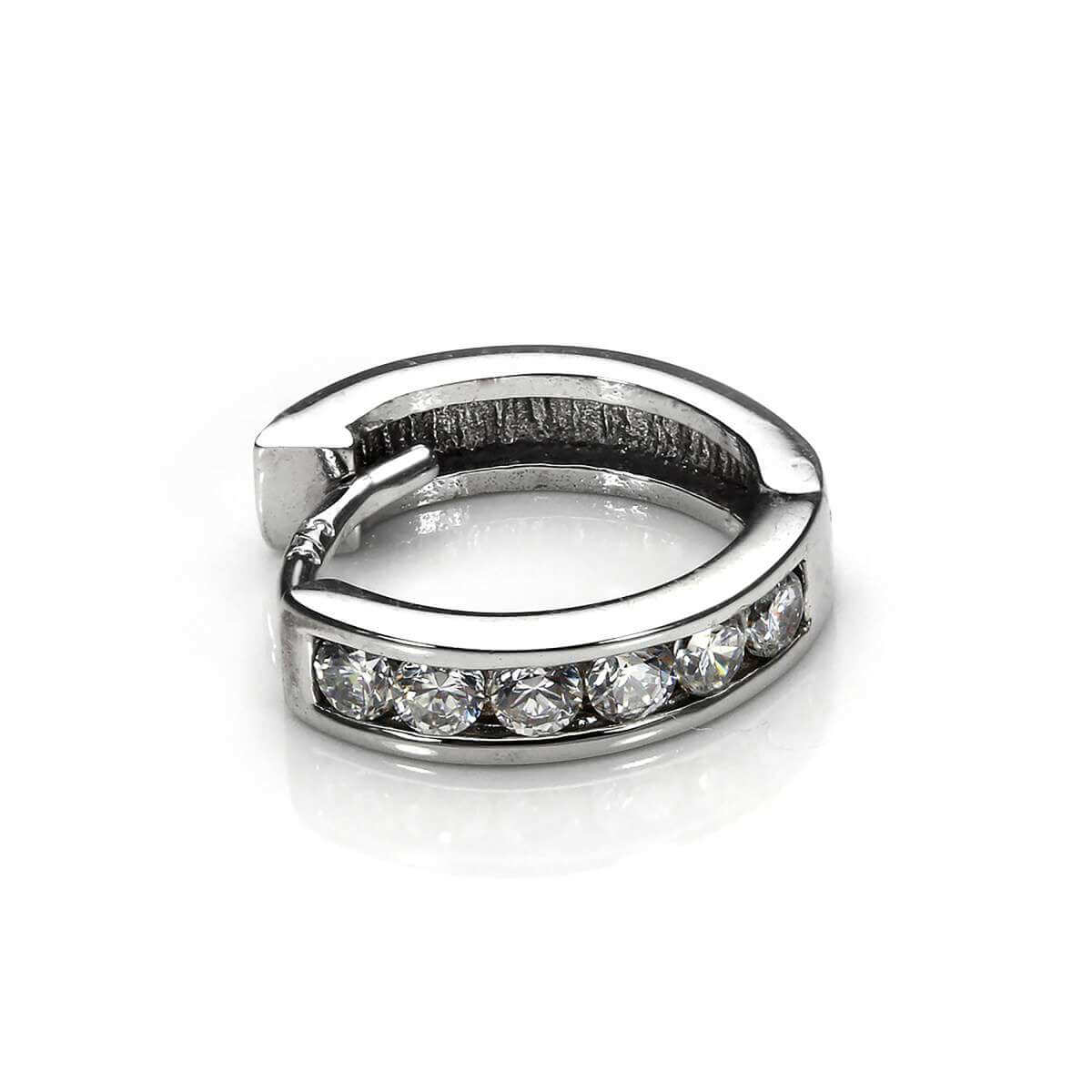 9ct White Gold Clear CZ Huggie Hoop Helix Piercing