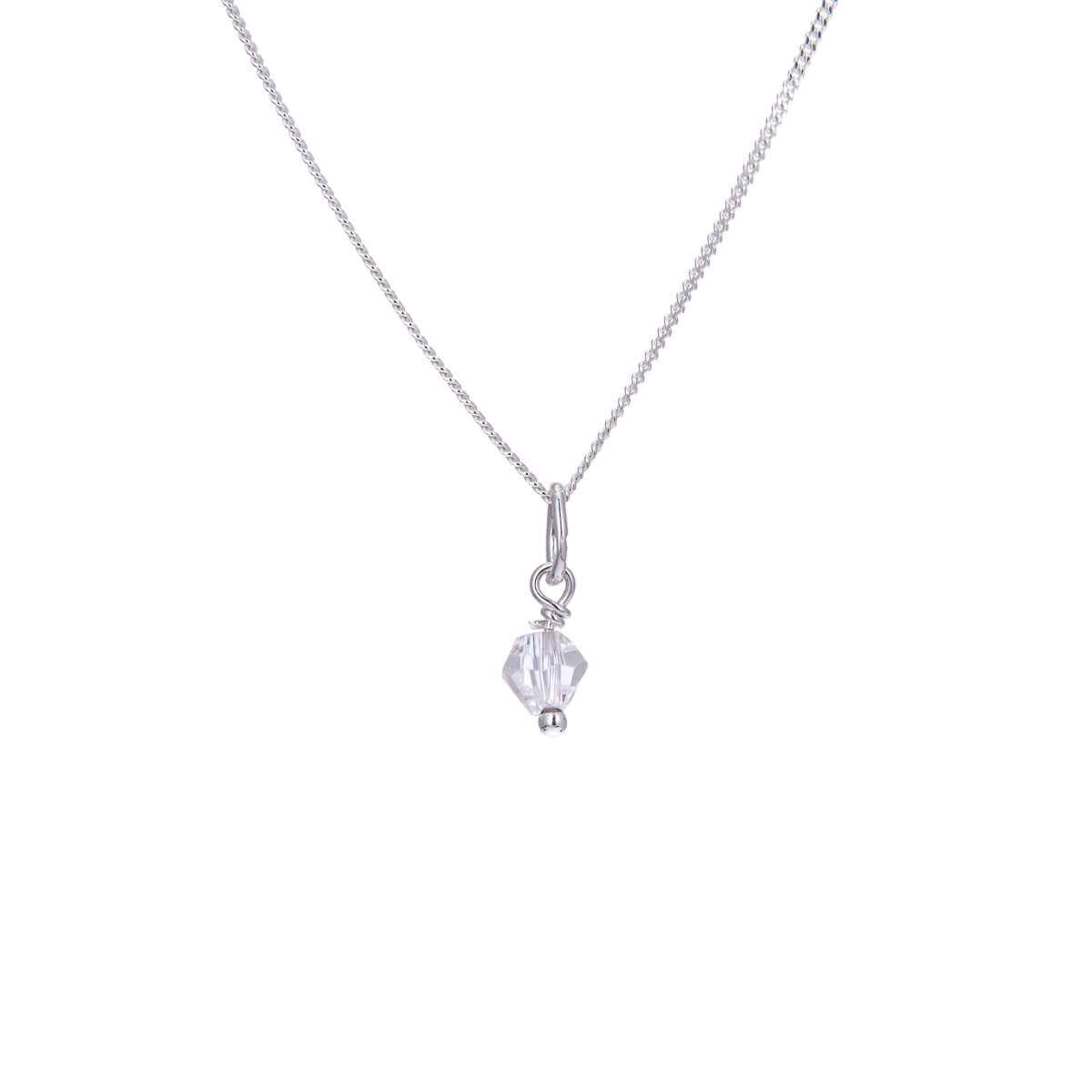 Sterling Silver Clear CZ Bead Necklace - 14 - 22 Inches
