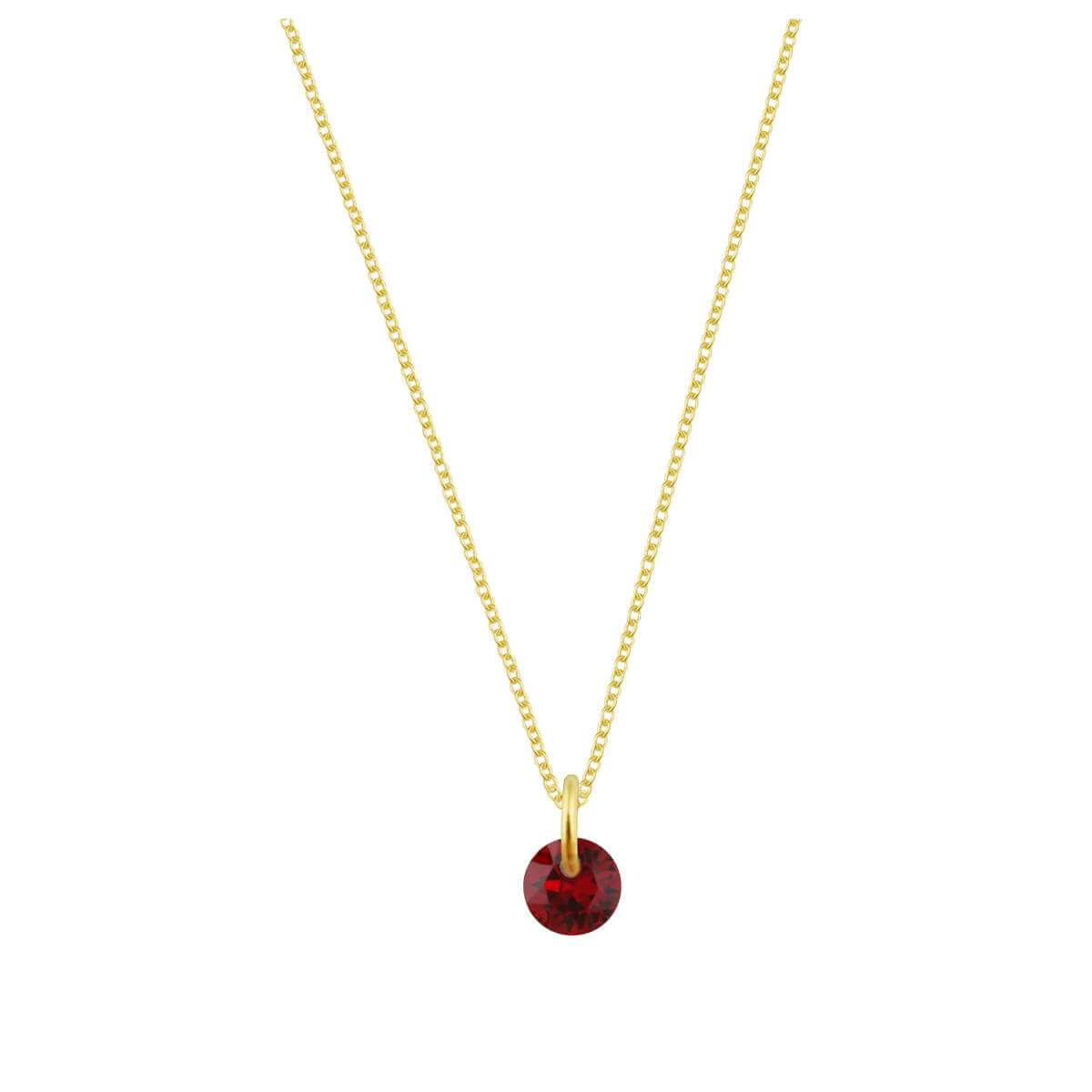 Gold Plated Sterling Silver & 4mm Garnet CZ Necklace - 16 - 22 Inches