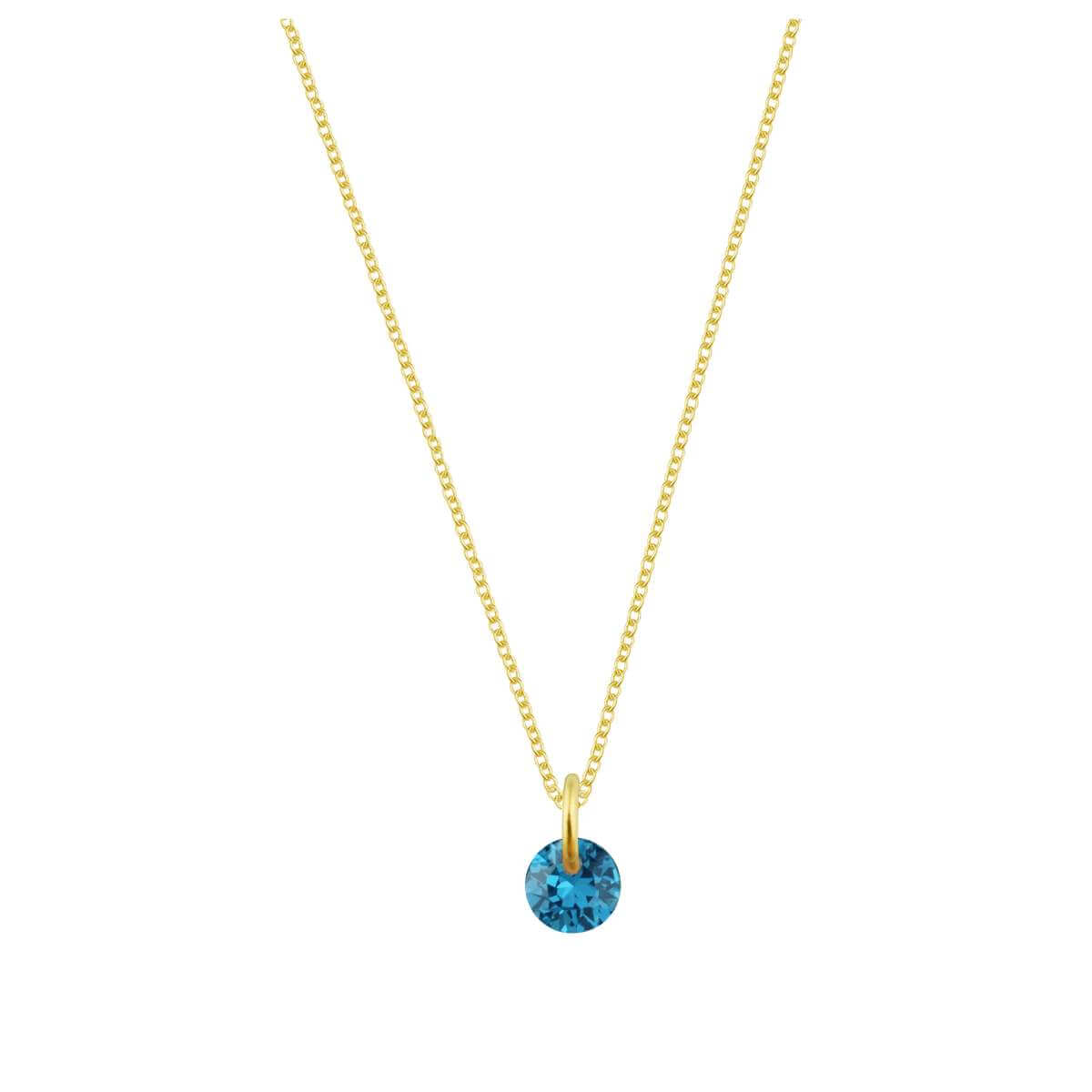 Gold Plated Sterling Silver & 4mm Aquamarine CZ Necklace - 16 - 22 Inches