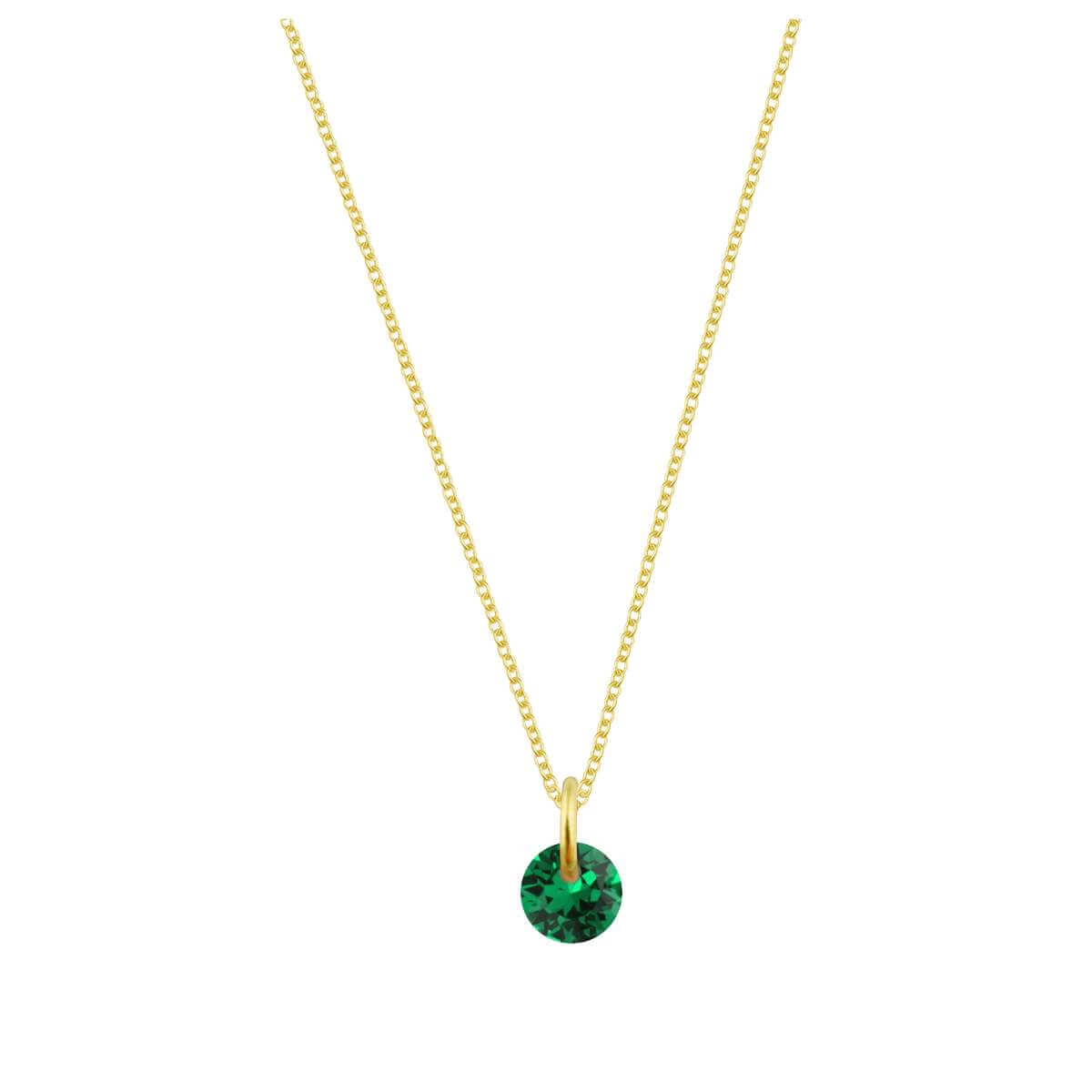 Gold Plated Sterling Silver & 4mm Emerald CZ Necklace - 16 - 22 Inches