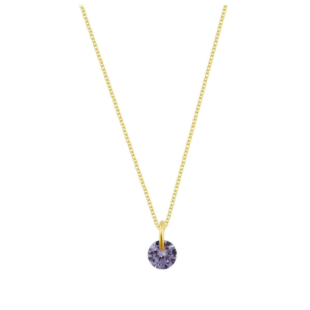 Gold Plated Sterling Silver & 4mm Alexandrite CZ Necklace - 16 - 22 Inches