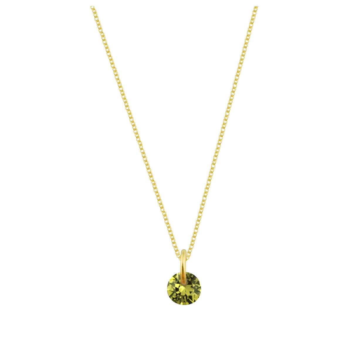 Gold Plated Sterling Silver & 4mm Peridot CZ Necklace - 16 - 22 Inches