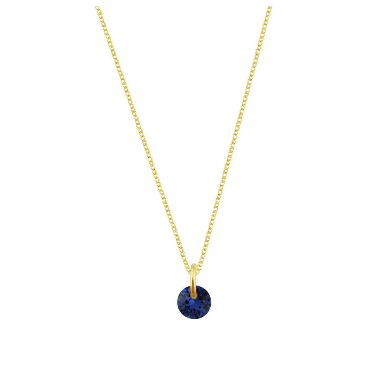 Gold Plated Sterling Silver & 4mm Sapphire CZ Necklace - 16 - 22 Inches