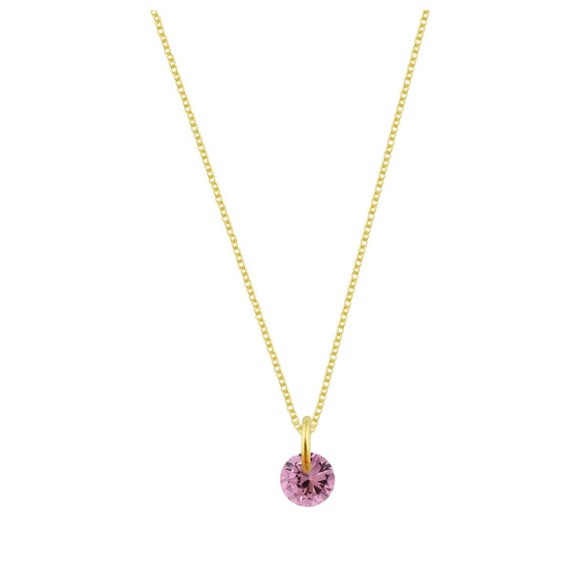 Gold Plated Sterling Silver & 4mm Tourmaline CZ Necklace - 16 - 22 Inches