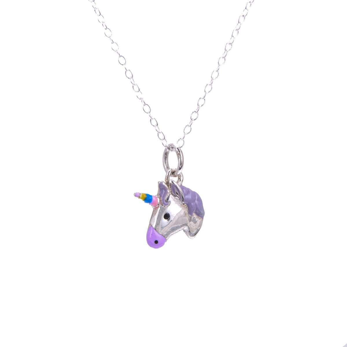 Sterling Silver Unicorn Enamel Necklace - 14 - 32 Inches
