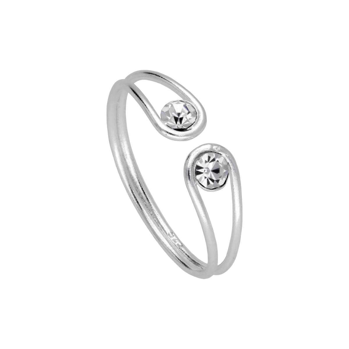 Sterling Silver Minimalist Twine Wire CZ Open Ring