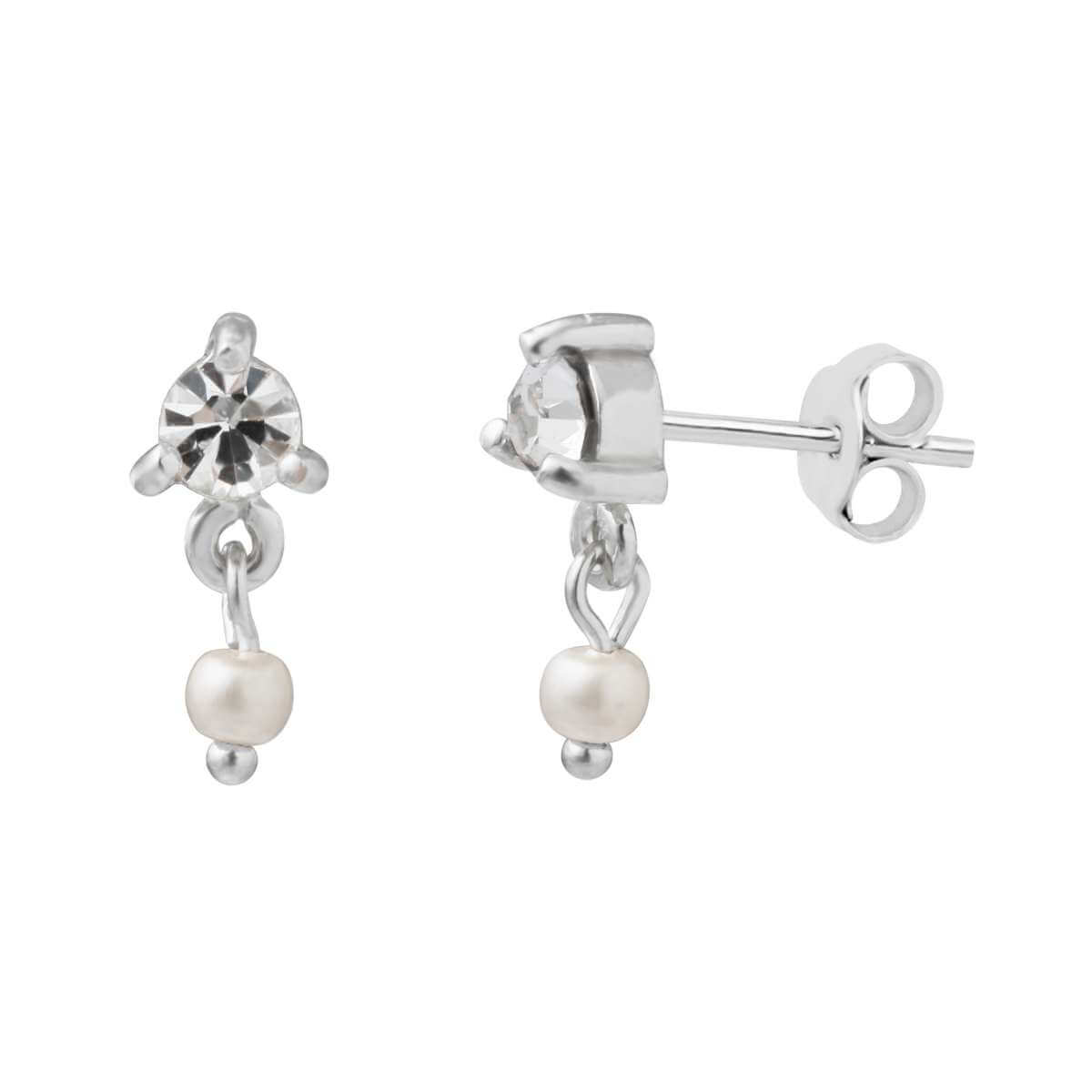 Sterling Silver CZ Freshwater Pearl Drop Stud Earrings