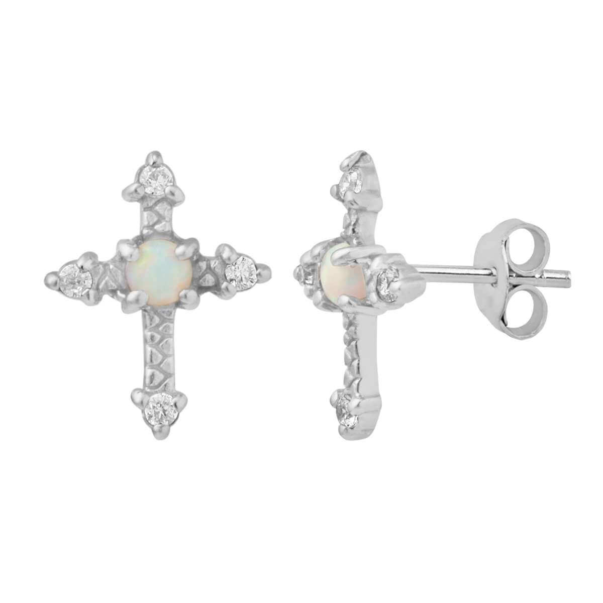 Sterling Silver Cross CZ Faux Opal Stud Earrings