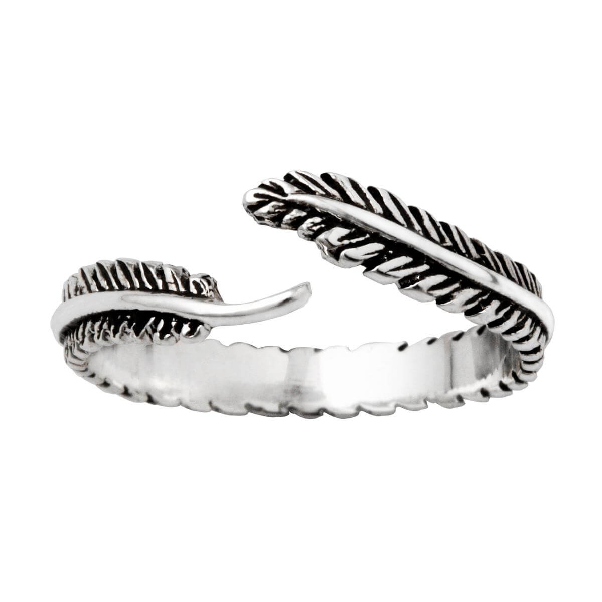 Sterling Silver Feather Open Adjustable Ring