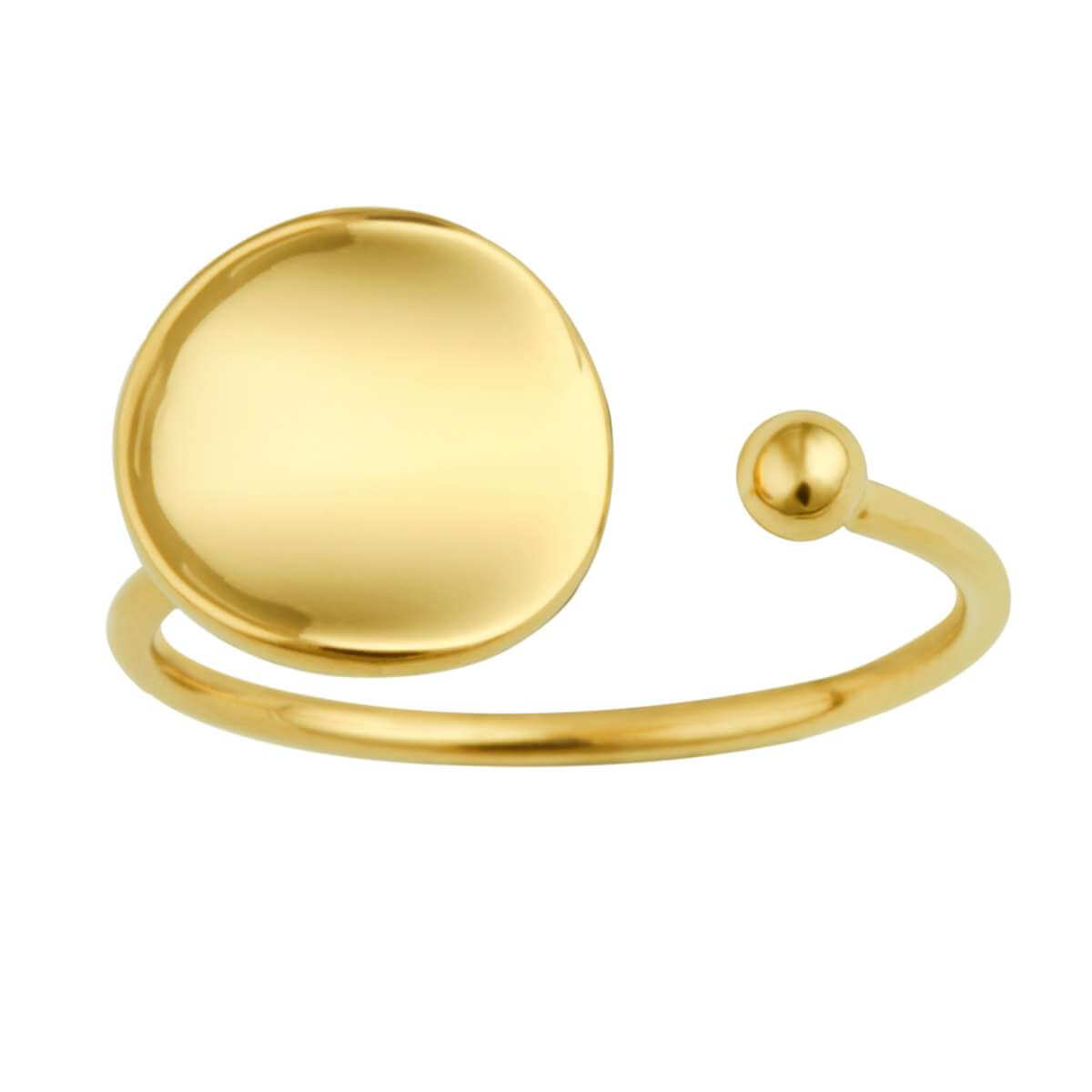 Gold Plated Sterling Silver Round Disc Open Adjustable Ring