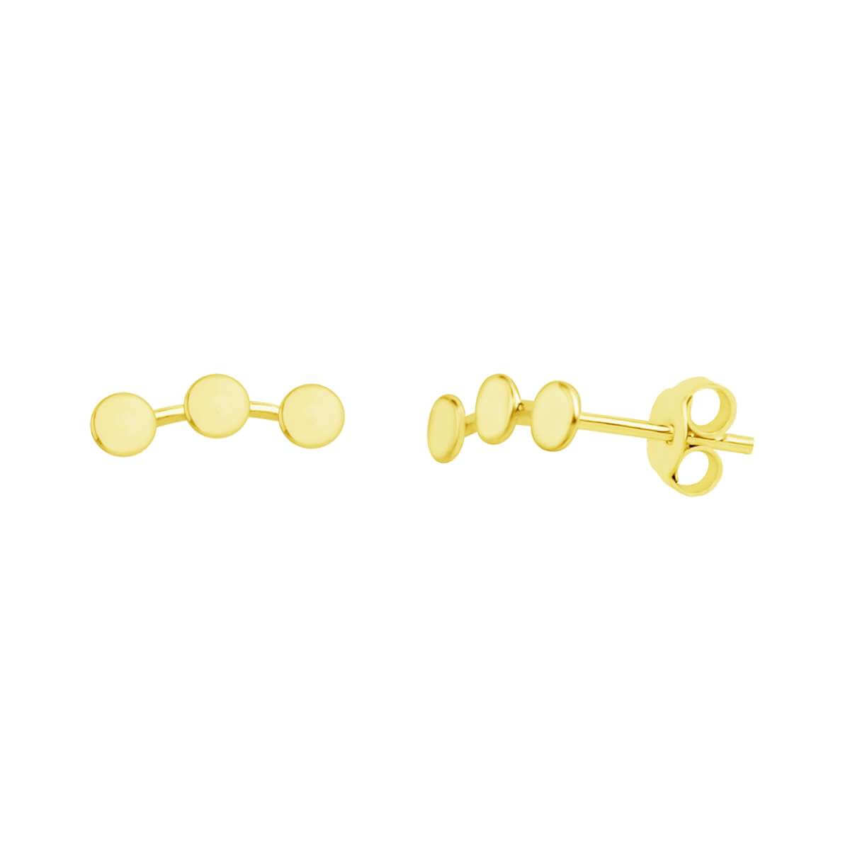 Gold Plated Sterling Silver Triple Disc Stud Earrings
