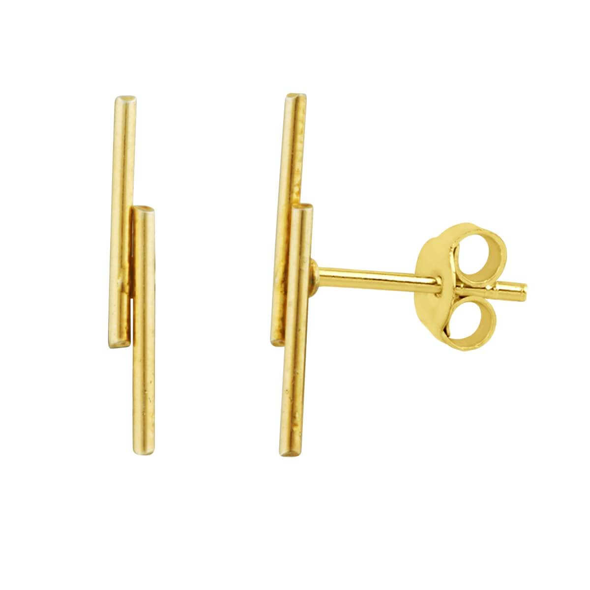 Gold Plated Sterling Silver Double Bar Stud Earrings