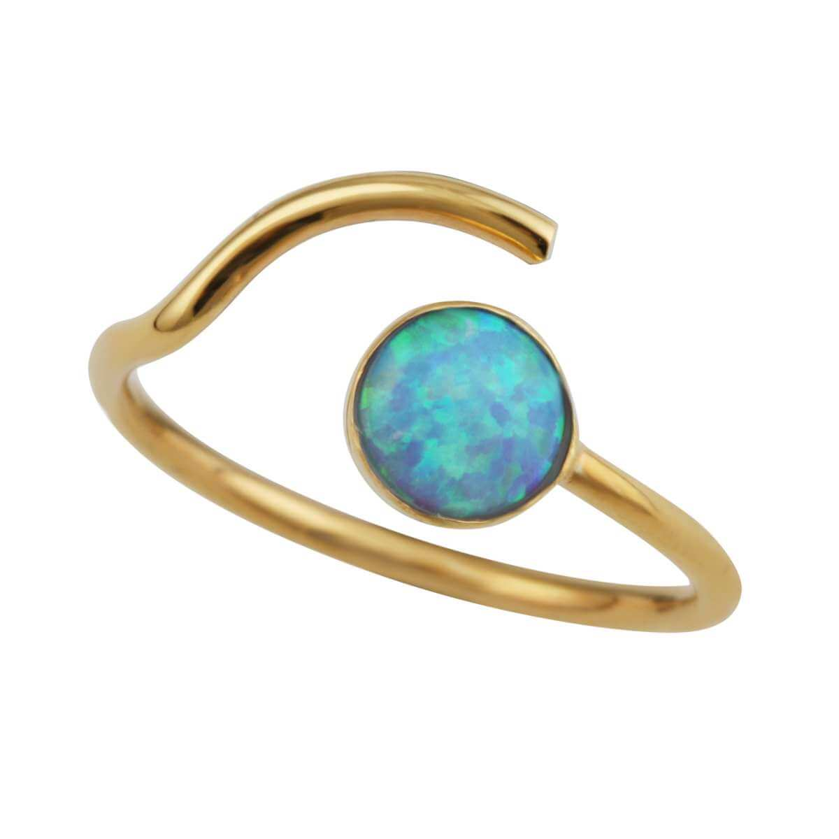 Gold Plated Sterling Silver Faux Opal Open Adjustable Ring