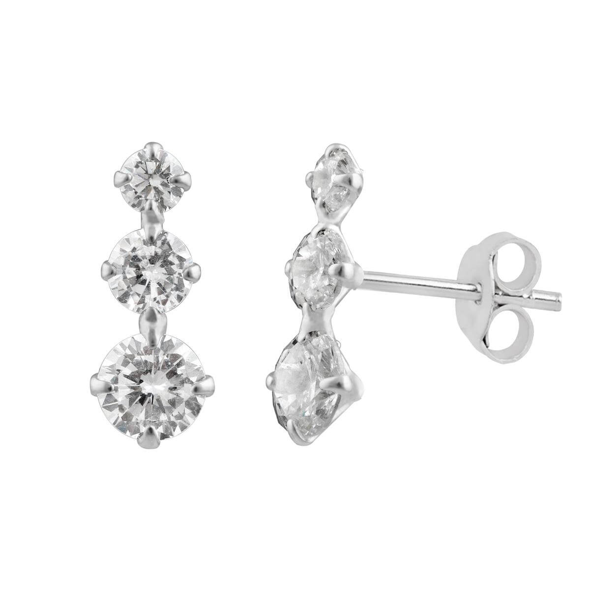 Sterling Silver Triple Round CZ Stud Earrings