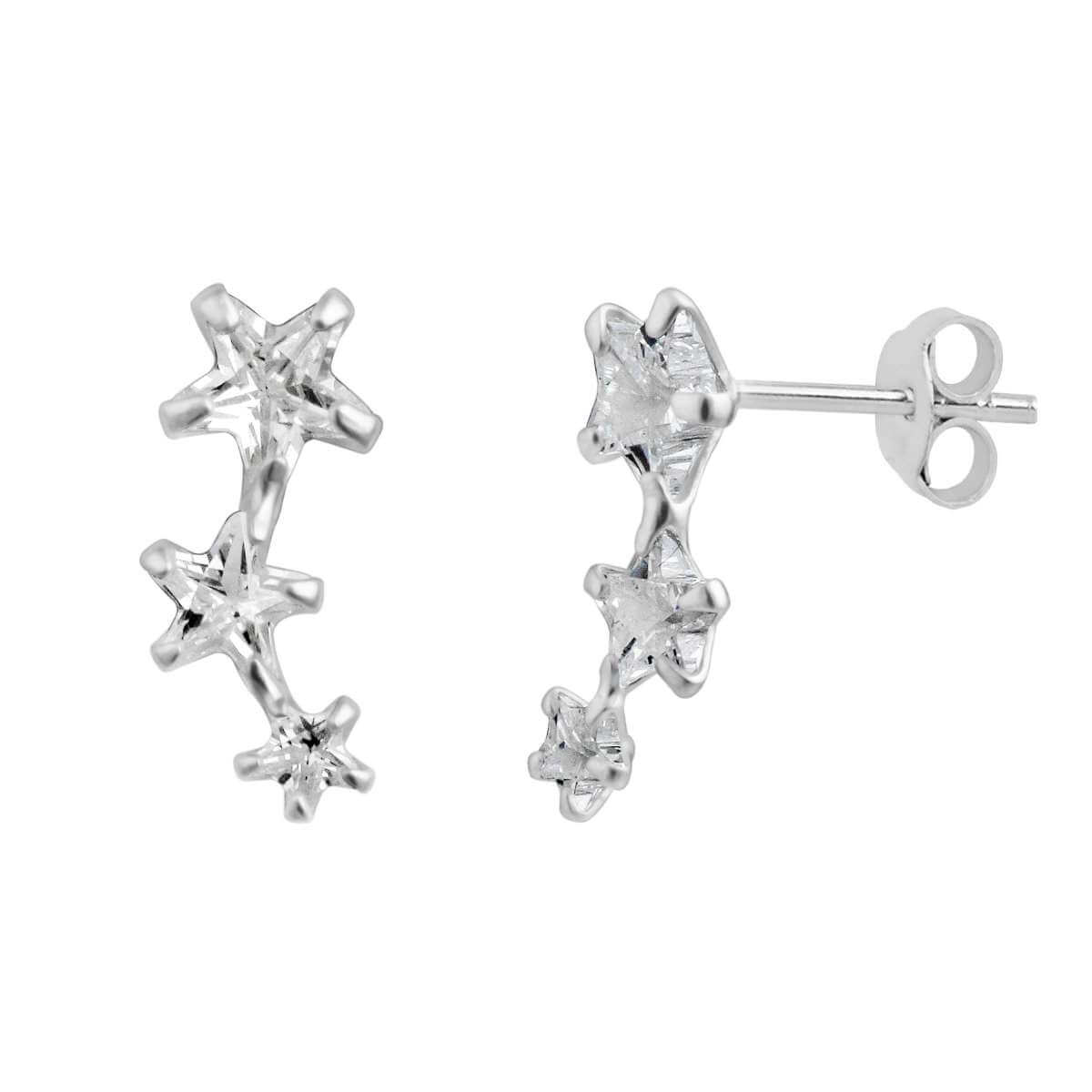 Sterling Silver Triple Clear Star CZ Stud Earrings