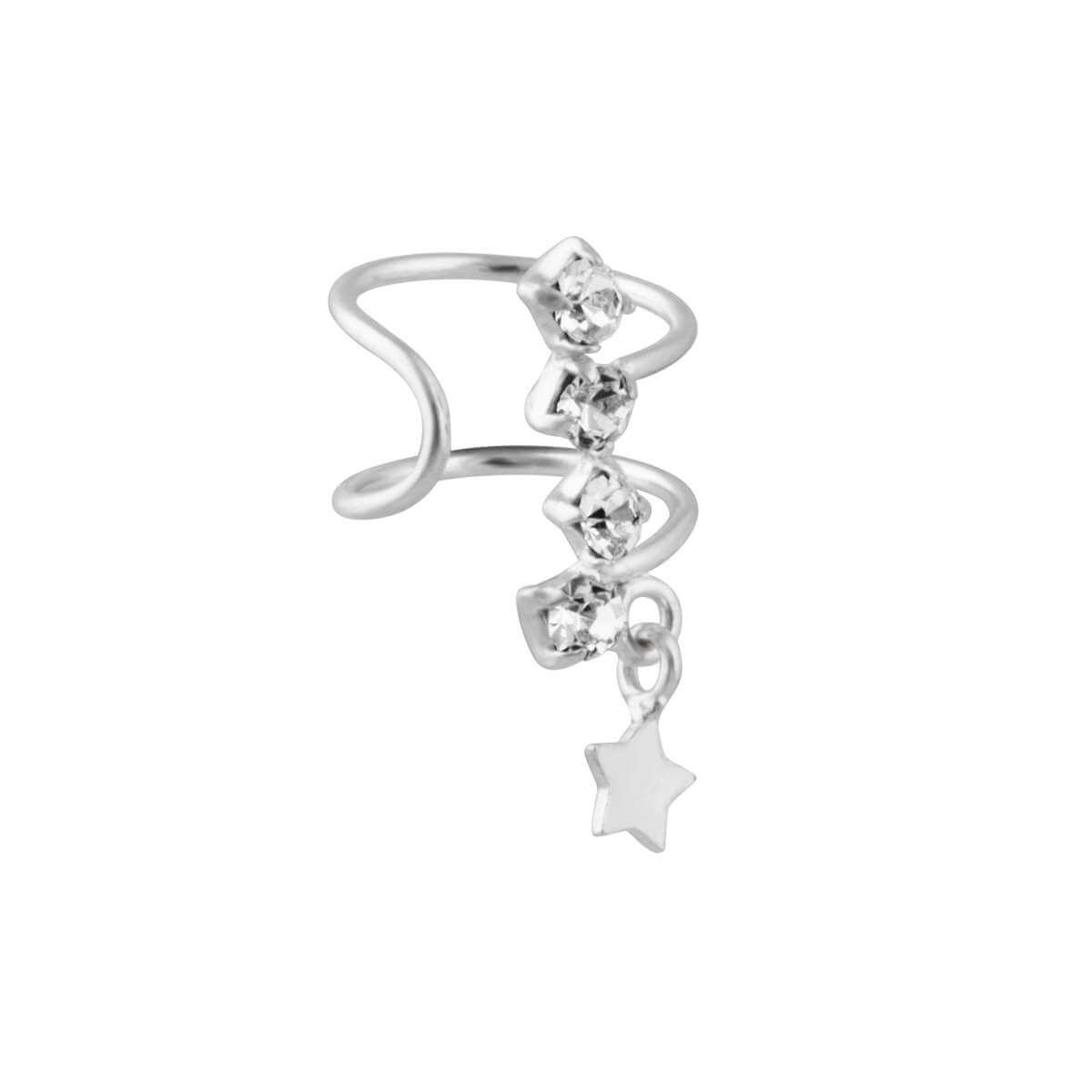 Sterling Silver 1mm CZ Star Dangle Cuff Earring