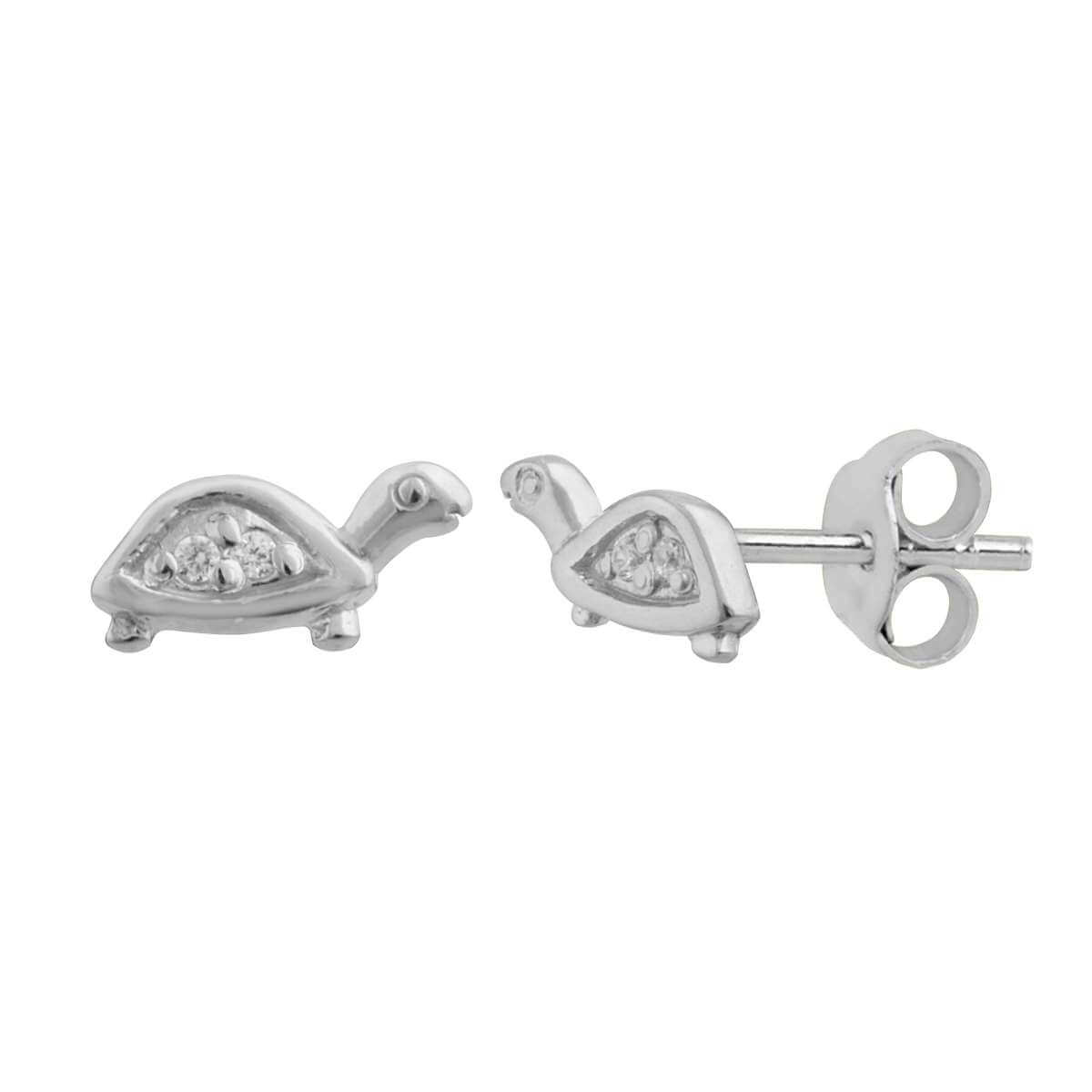 Sterling Silver Clear CZ Turtle Stud Earrings