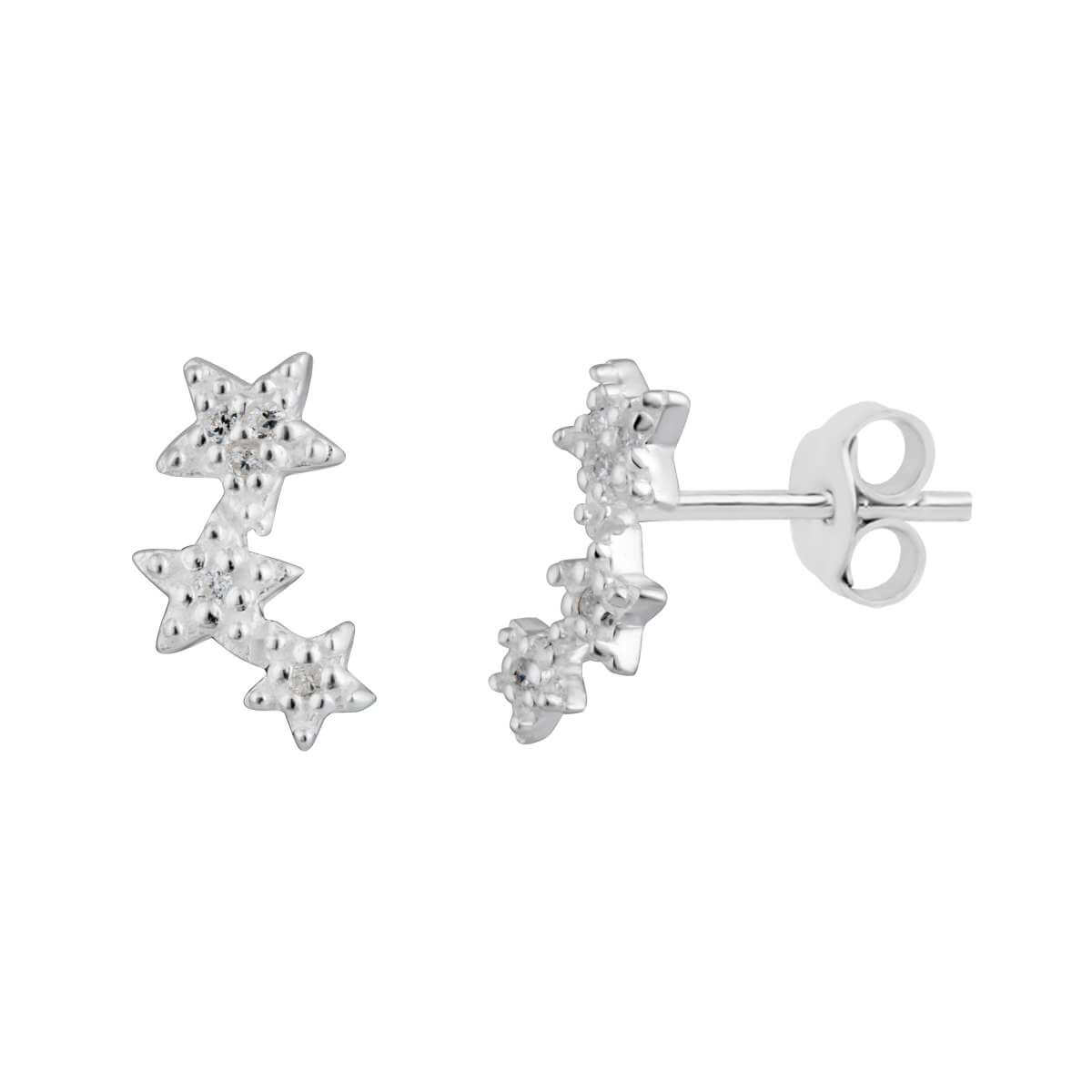 Sterling Silver Triple Star Pave CZ Stud Earrings