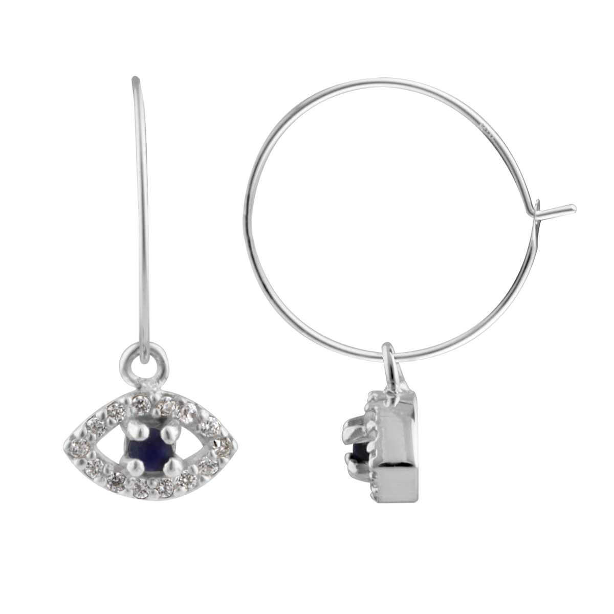 Sterling Silver CZ Lapis Evil Eye 15mm Charm Hoop Earrings