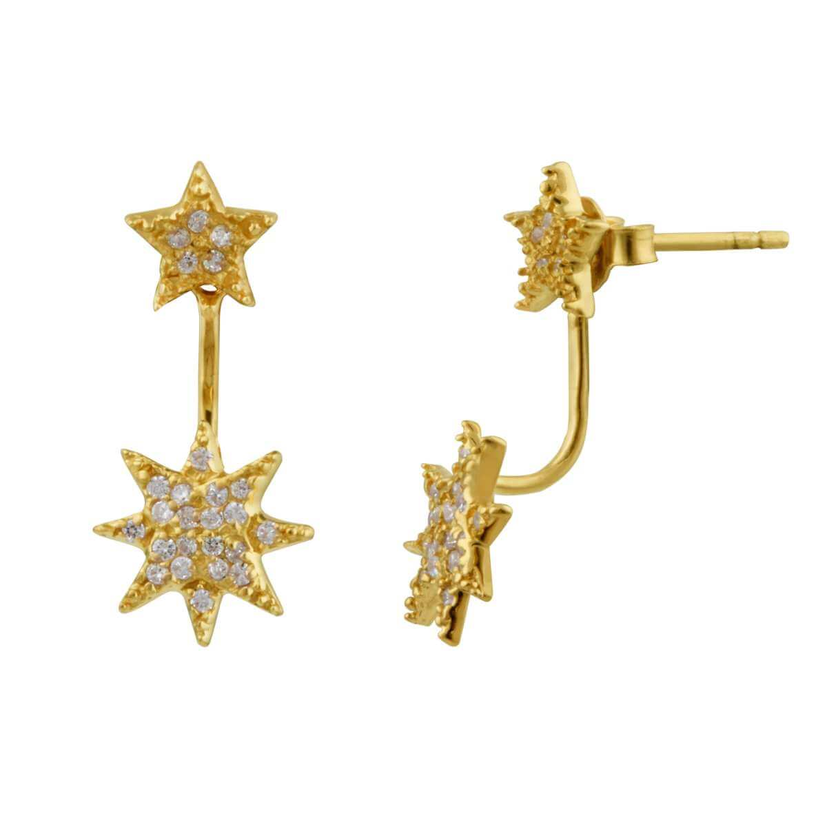 Gold Plated Sterling Silver CZ Starburst Jacket Stud Earrings