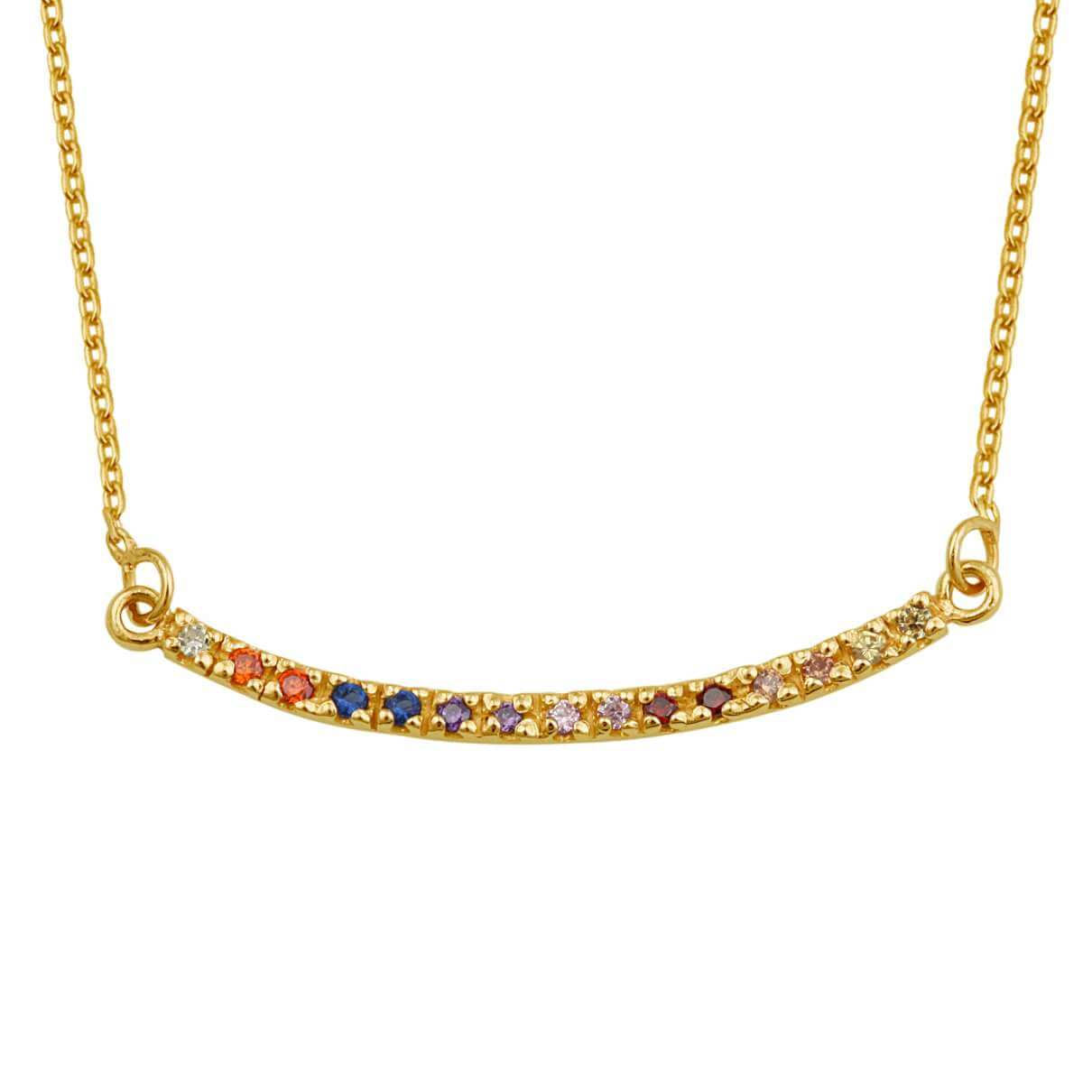 Gold Plated Sterling Silver CZ Rainbow Curve Bar Necklace