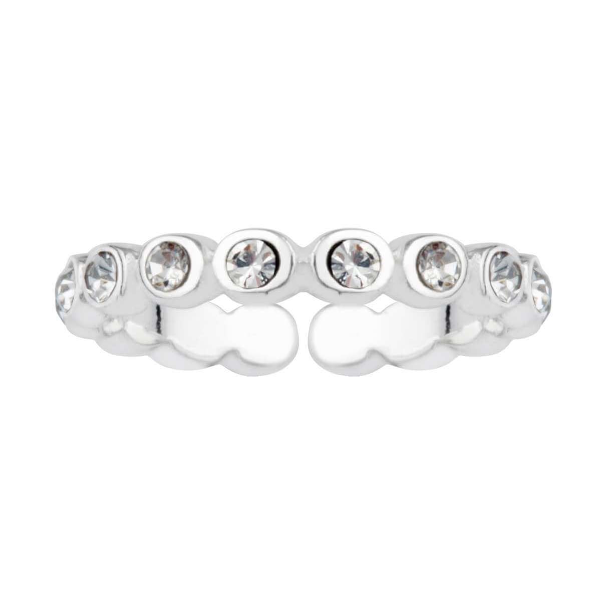 Sterling Silver Round CZ Open Adjustable Eternity Ring
