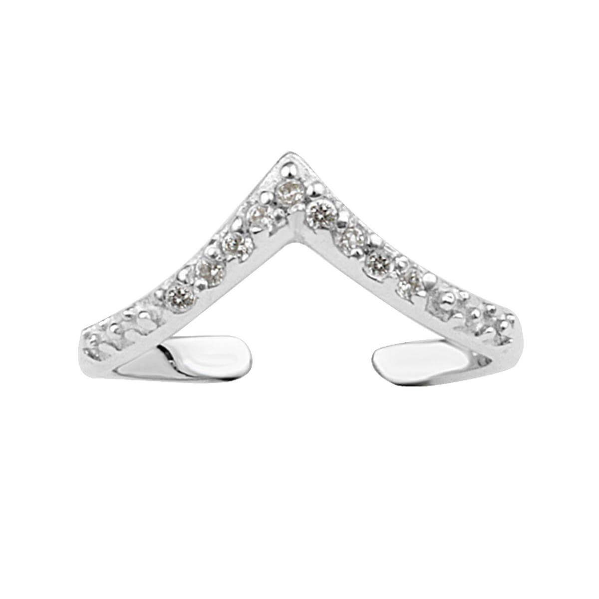 Sterling Silver CZ Open Adjustable Wishbone Ring