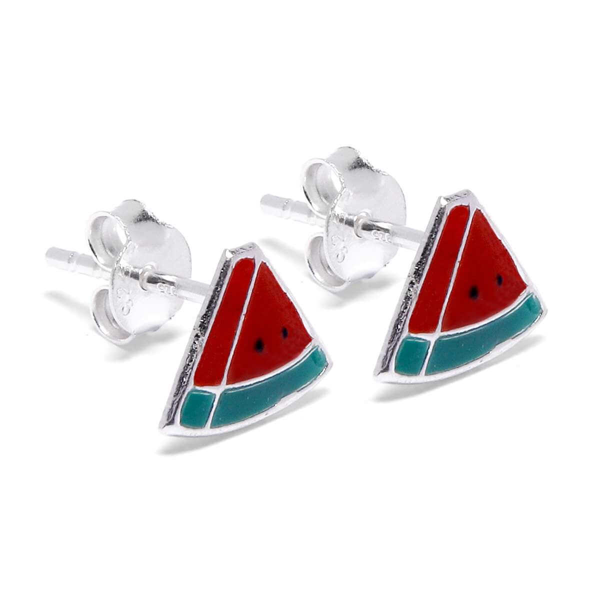 Sterling Silver Enamel Watermelon Stud Earrings