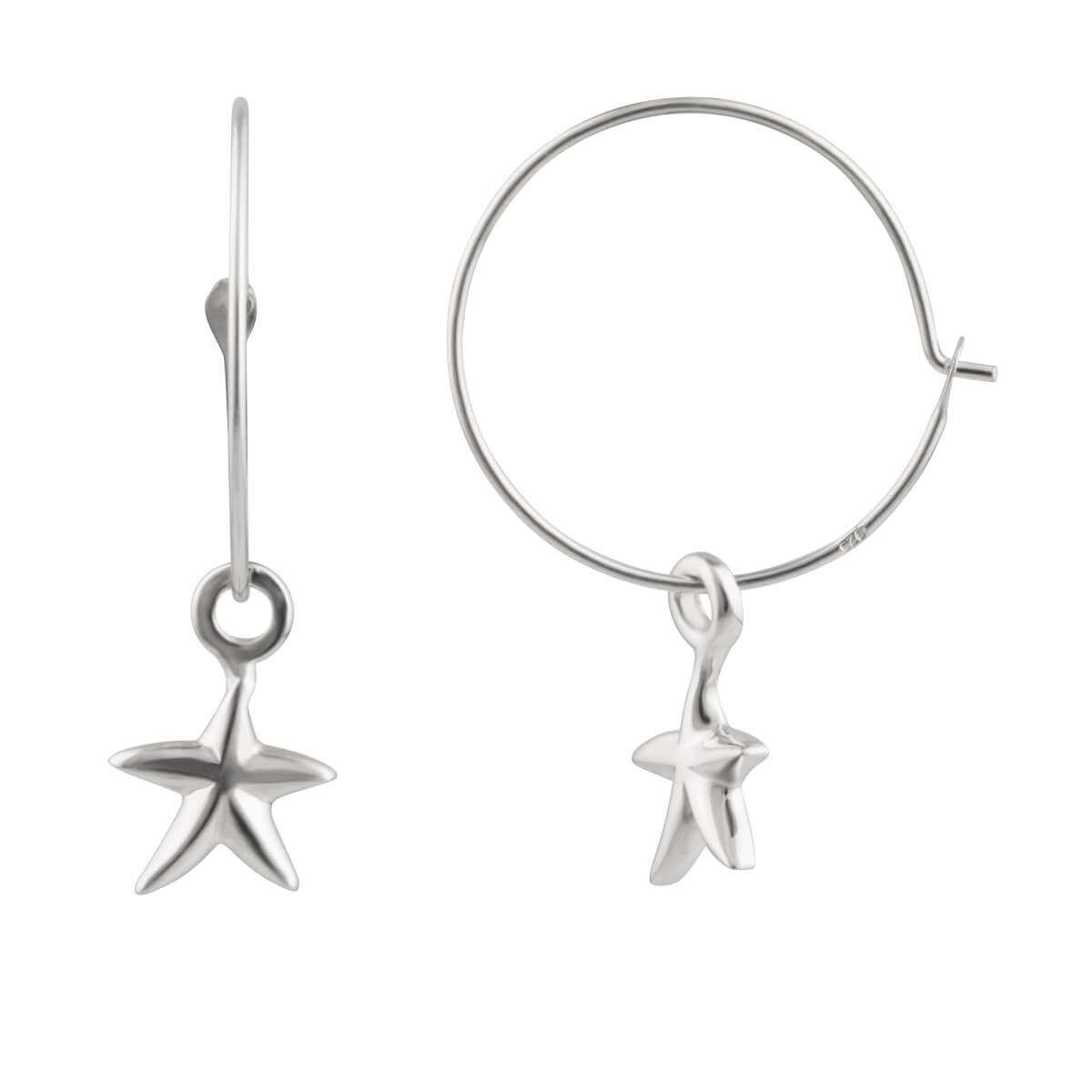 Sterling Silver 16mm Starfish Charm Hoop Earrings