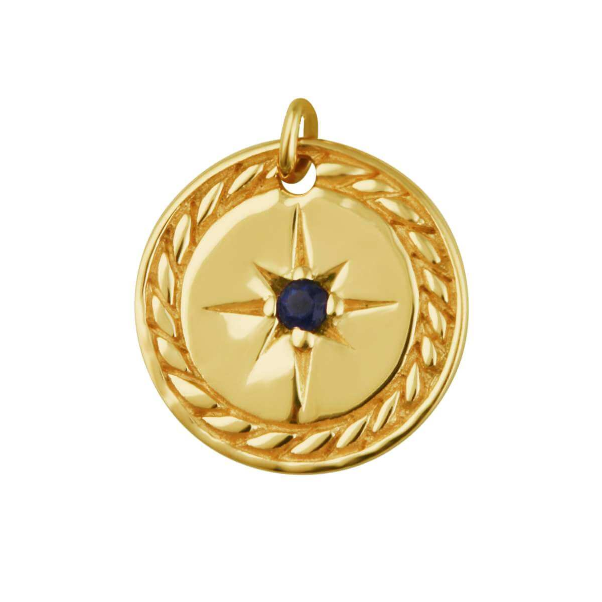 Gold Plated Sterling Silver Star Medallion Charm