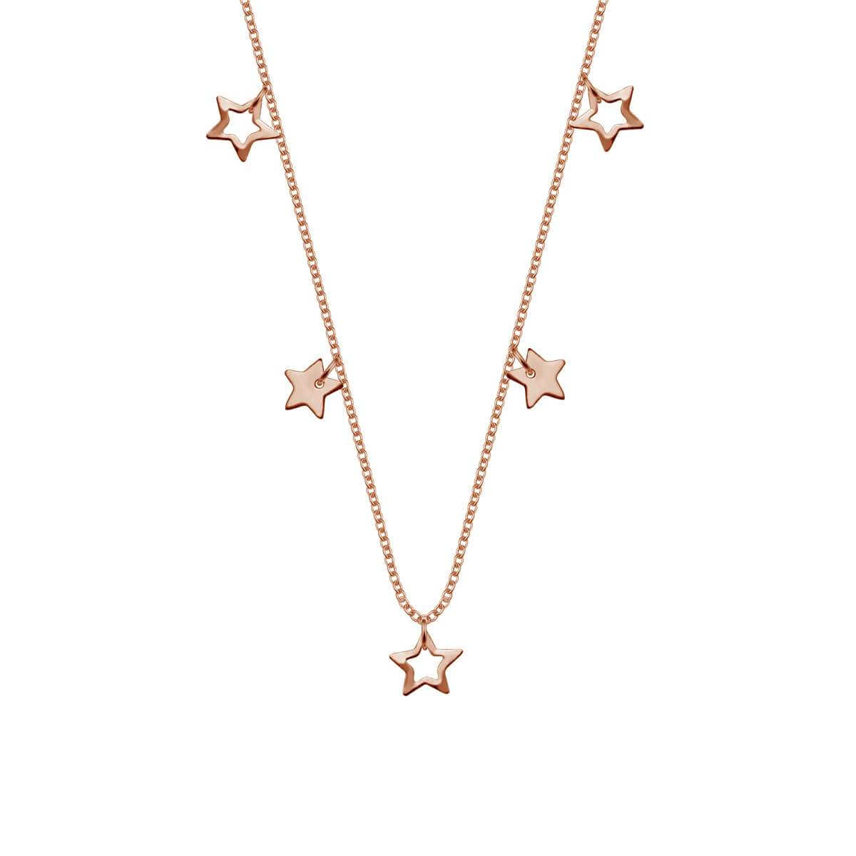 Rose Gold Plated Sterling Silver Stars 18 Inch Necklace