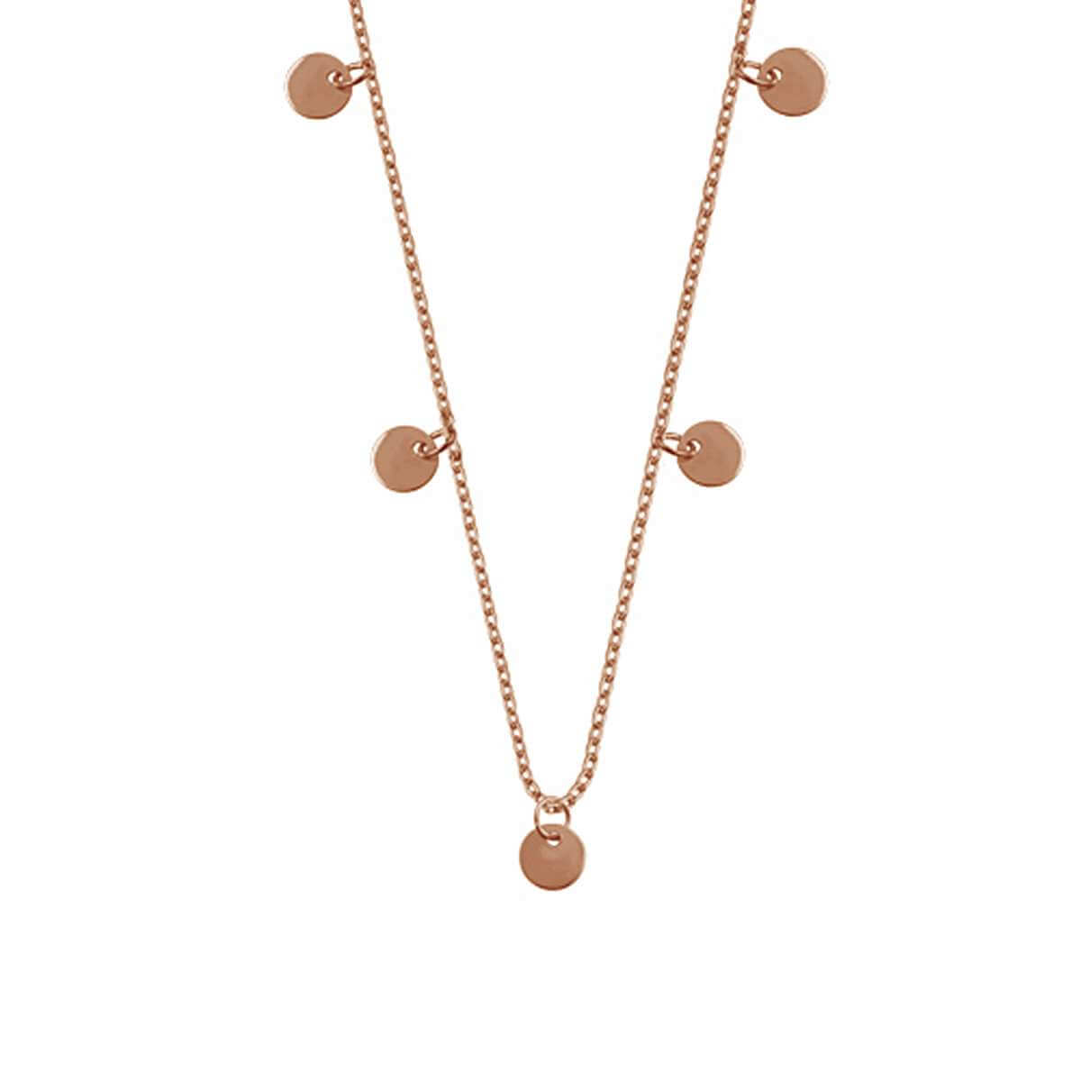 Rose Gold Plated Sterling Silver Multiple Circles Necklace 16 Inches