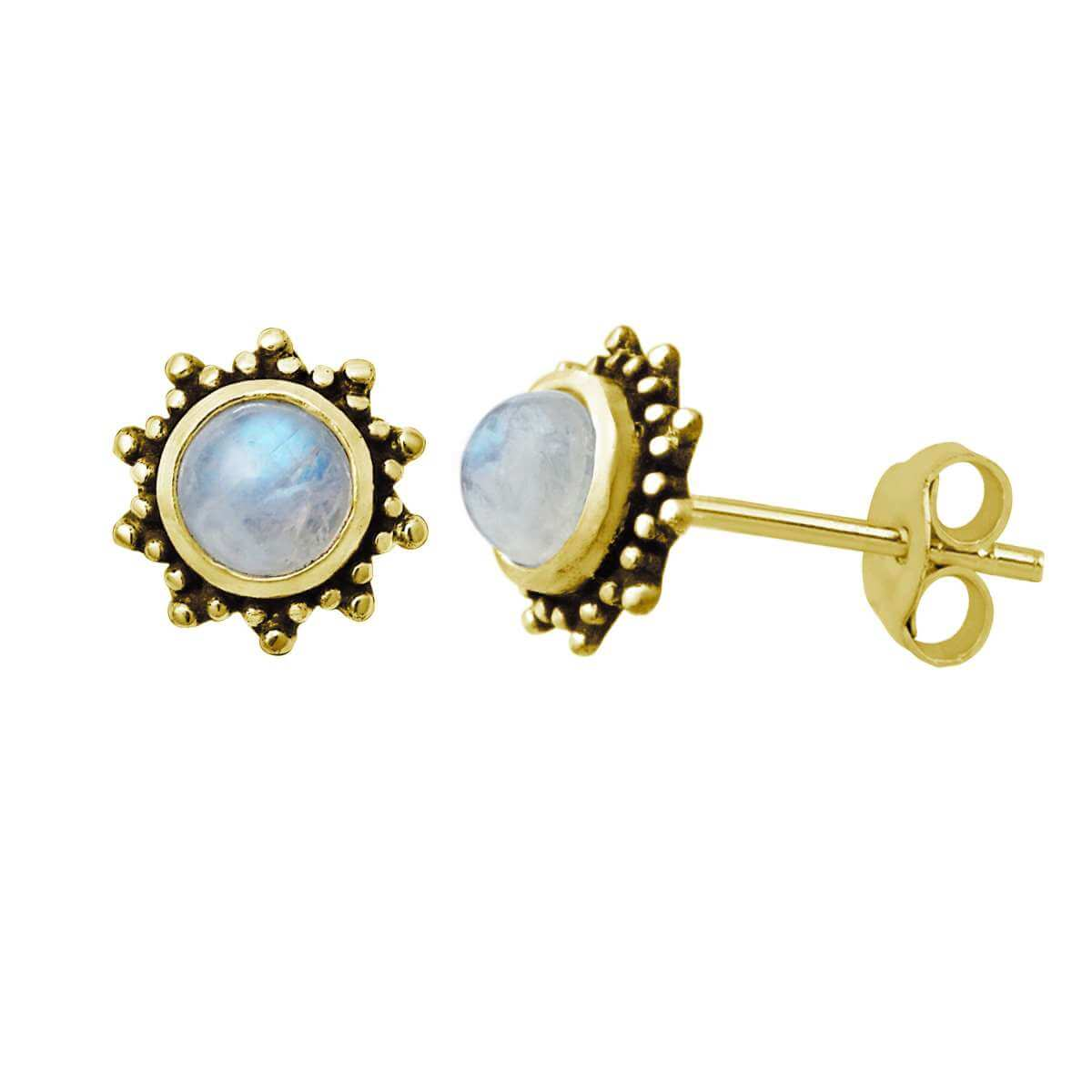 Gold Plated Sterling Silver & 5mm Moonstone Sun Stud Earrings