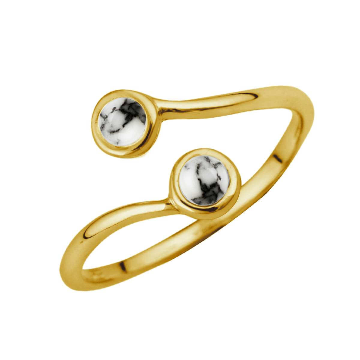 Gold Plated Sterling Silver & Faux Howlite Adjustable Ring