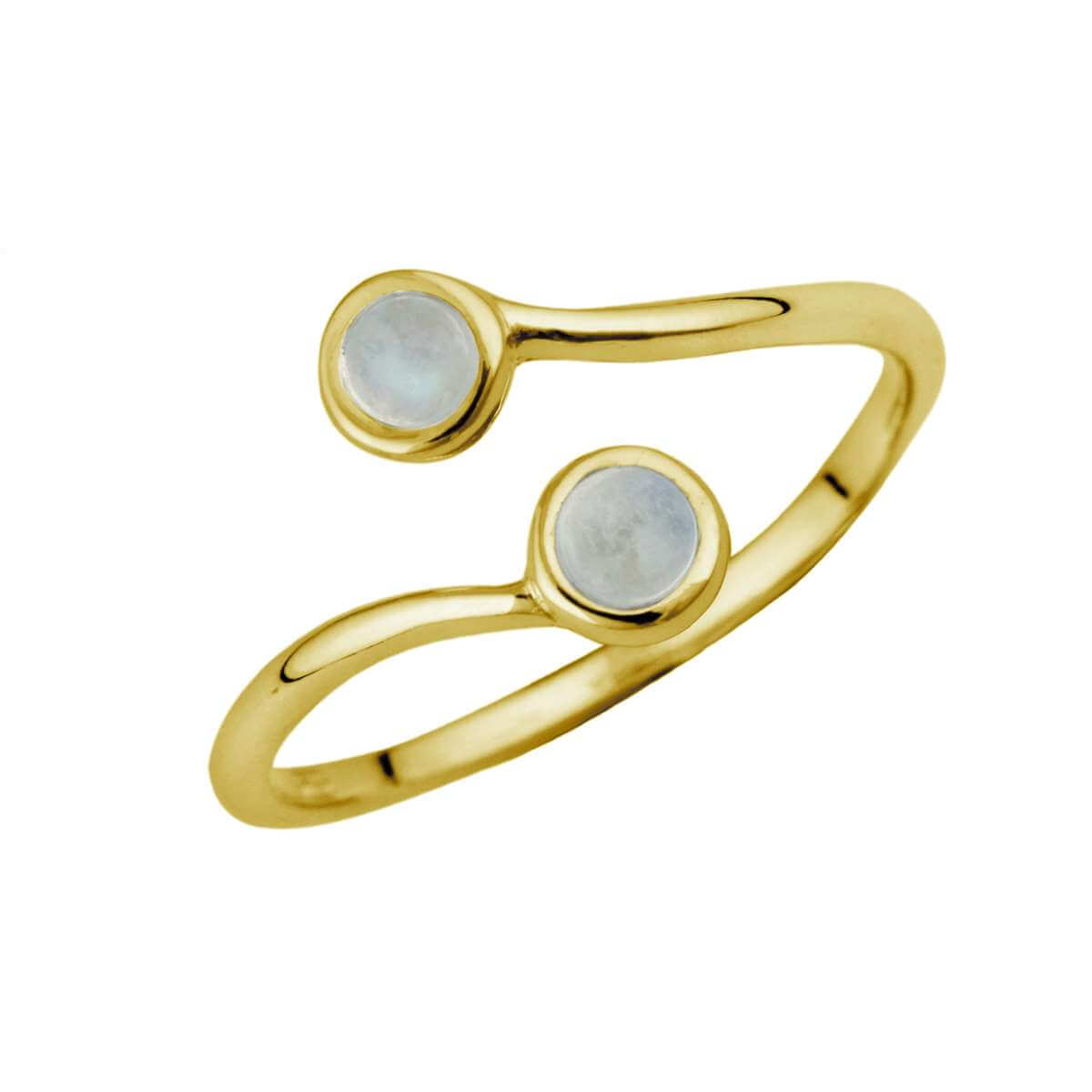 Gold Plated Sterling Silver & Moonstone Adjustable Ring