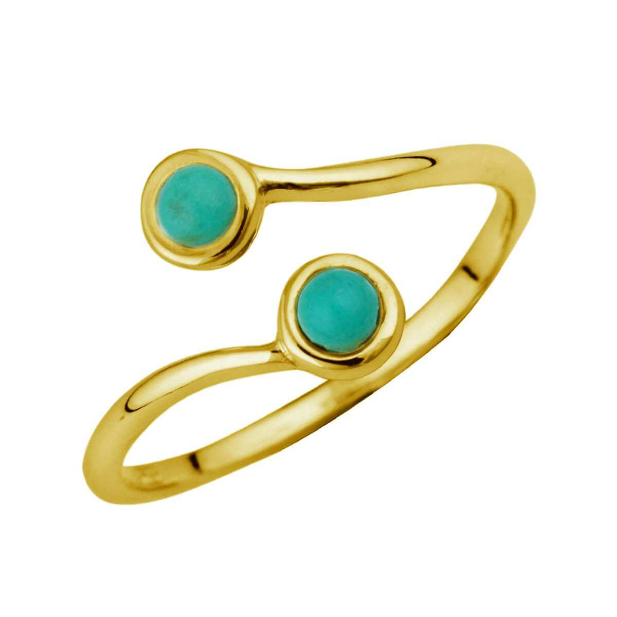 Gold Plated Sterling Silver & Faux Turquoise Adjustable Ring