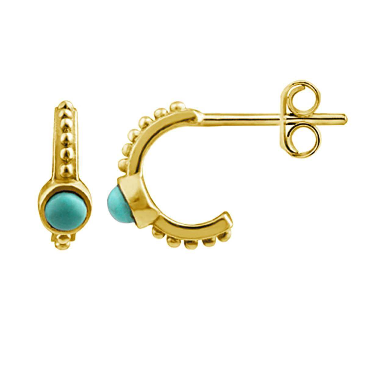 Gold Plated Sterling Silver Faux Turquoise Beaded Hoop Stud Earrings