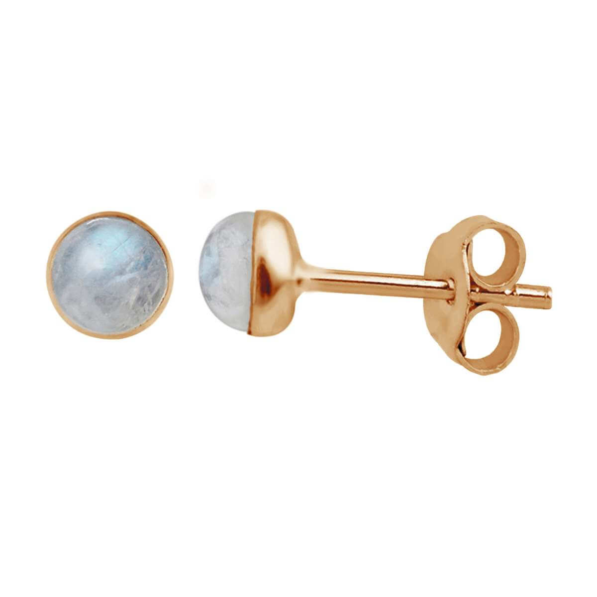 Rose Gold Plated Sterling Silver 3mm Moonstone Ball Stud Earrings