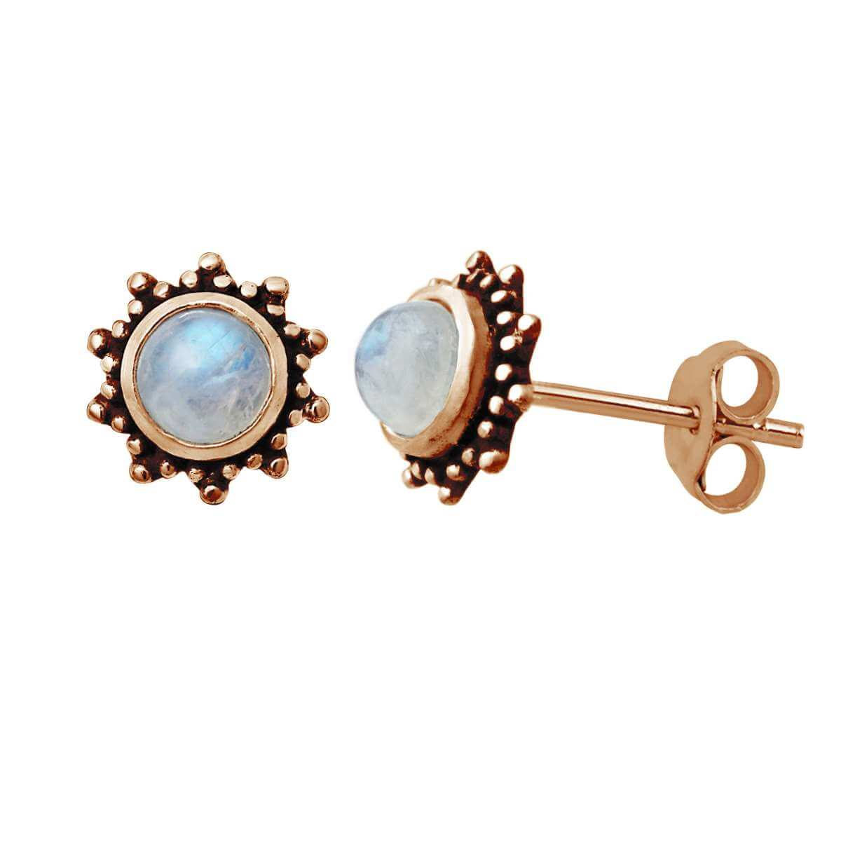 Rose Gold Plated Sterling Silver 5mm Moonstone Sun Stud Earrings