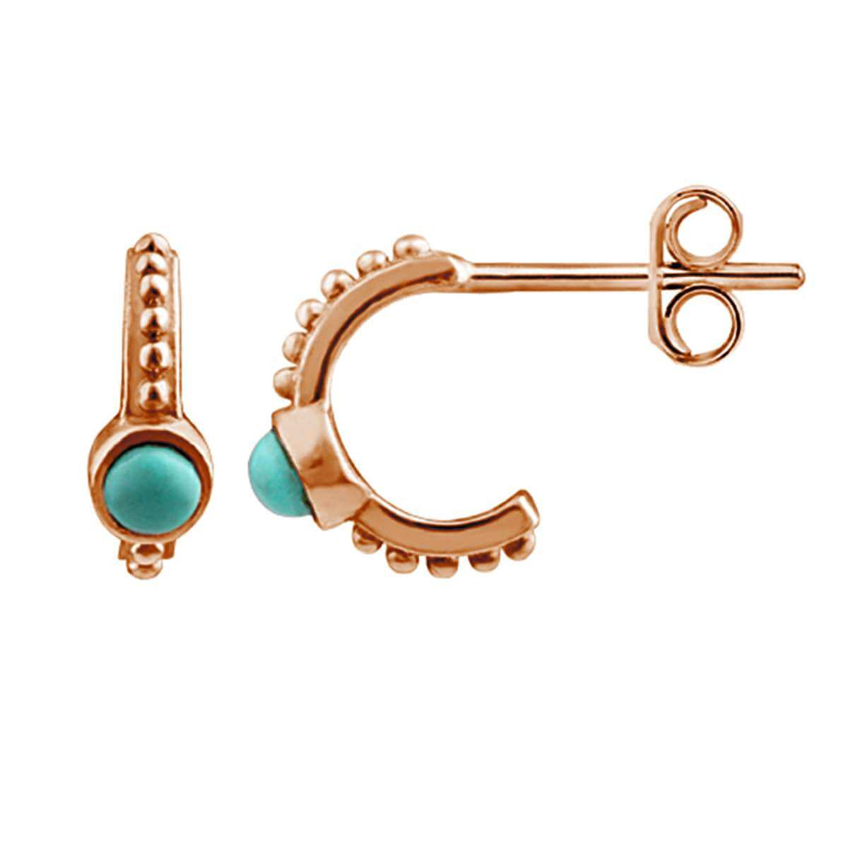 Rose Gold Plated Sterling Silver Faux Turquoise Stud Earrings