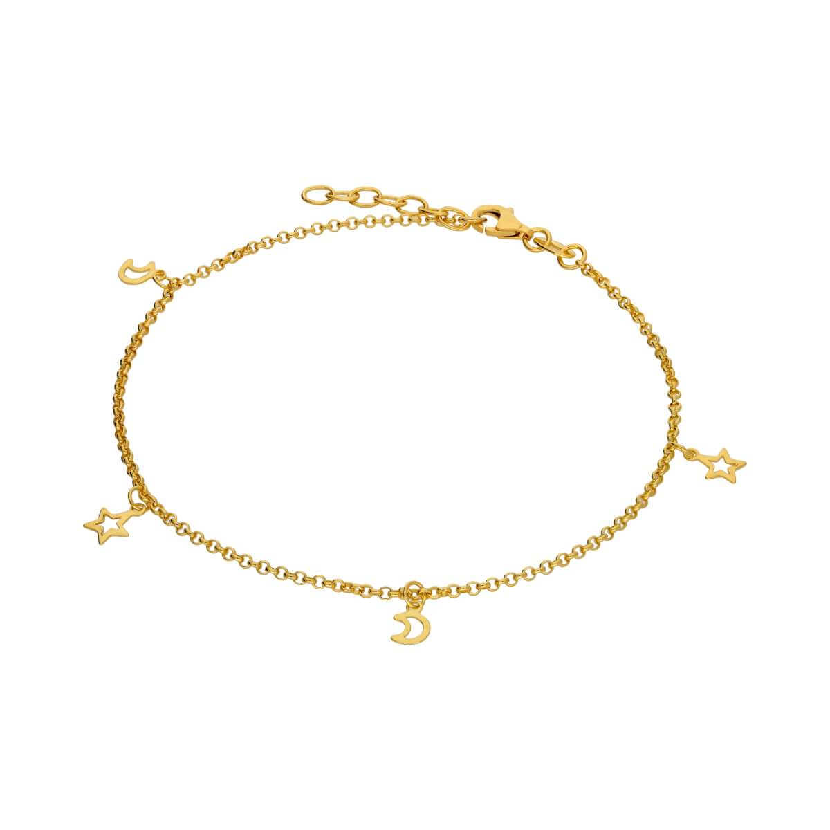 Gold Plated Sterling Silver Moon & Star Charm Bracelet
