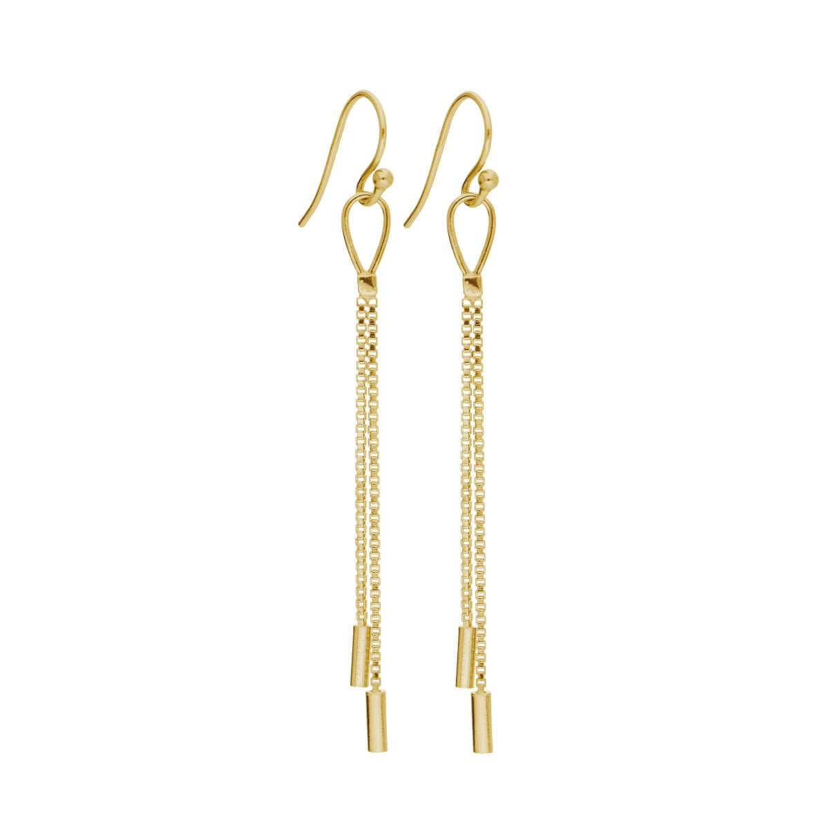 Gold Plated Sterling Silver Double Tassel Drop Earrings